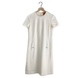 Tory Burch Ivory Short Sleeve Tweed Shift Dress